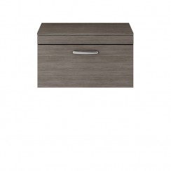 Athena Brown Grey Avola 800mm Wall Hung 1 Drawer Cabinet & Worktop