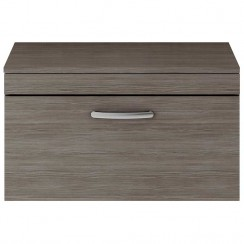 Athena Brown Grey Avola 800mm Wall Hung 1 Drawer Cabinet & Worktop