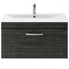 Athena Hacienda Black 800mm Wall Hung 1 Drawer Cabinet & Basin 2