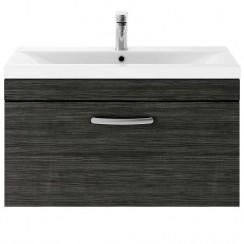 Athena Hacienda Black 800mm Wall Hung 1 Drawer Cabinet & Basin 3