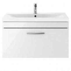 Athena Gloss White 800mm Wall Hung 1 Drawer Cabinet & Basin 1