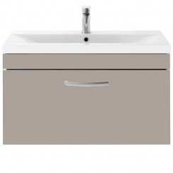 Athena Stone Grey 800mm Wall Hung 1 Drawer Cabinet & Basin 1