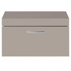 Athena Stone Grey 800mm Wall Hung 1 Drawer Cabinet & Worktop