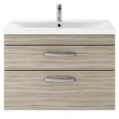 Athena Driftwood 800mm Wall Hung 2 Drawer Cabinet & Basin 3