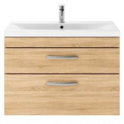 Athena Natural Oak 800mm Wall Hung 2 Drawer Cabinet & Basin 1