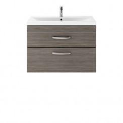 Athena Brown Grey Avola 800mm Wall Hung 2 Drawer Cabinet & Basin 2