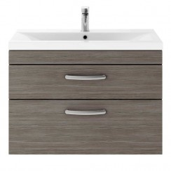 Athena Brown Grey Avola 800mm Wall Hung 2 Drawer Cabinet & Basin 1