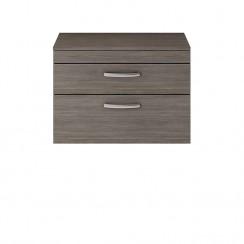 Athena Brown Grey Avola 800mm Wall Hung 2 Drawer Cabinet & Worktop