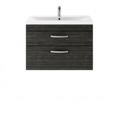 Athena Hacienda Black 800mm Wall Hung 2 Drawer Cabinet & Basin 1