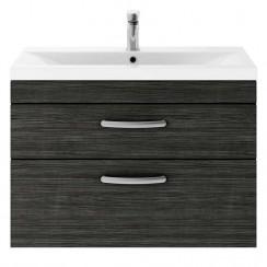 Athena Hacienda Black 800mm Wall Hung 2 Drawer Cabinet & Basin 2