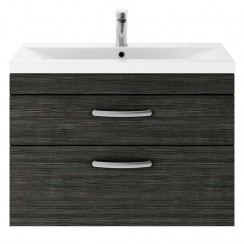 Athena Hacienda Black 800mm Wall Hung 2 Drawer Cabinet & Basin 3