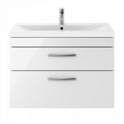 Athena Gloss White 800mm Wall Hung 2 Drawer Cabinet & Basin 2