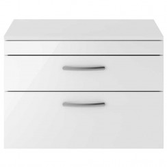 Athena Gloss White 800mm Wall Hung 2 Drawer Cabinet & Worktop