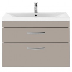 Athena Stone Grey 800mm Wall Hung 2 Drawer Cabinet & Basin 2