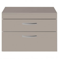 Athena Stone Grey 800mm Wall Hung 2 Drawer Cabinet & Worktop