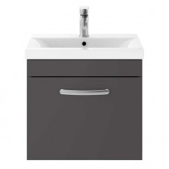 Athena Gloss Grey 500mm Wall Hung 1 Drawer Cabinet & Basin 1