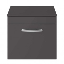 Athena Gloss Grey 500mm Wall Hung 1 Drawer Cabinet & Worktop