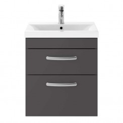 Athena Gloss Grey 500mm Wall Hung 2 Drawer Cabinet & Basin 3