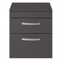 Athena Gloss Grey 500mm Wall Hung 2 Drawer Cabinet & Worktop