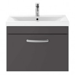 Athena Gloss Grey 600mm Wall Hung 1 Drawer Cabinet & Basin 1