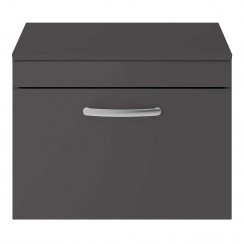 Athena Gloss Grey 600mm Wall Hung 1 Drawer Cabinet & Worktop