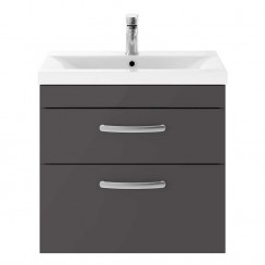 Athena Gloss Grey 600mm Wall Hung 2 Drawer Cabinet & Basin 2