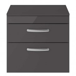Athena Gloss Grey 600mm Wall Hung 2 Drawer Cabinet & Worktop