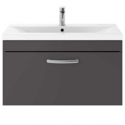 Athena Gloss Grey 800mm Wall Hung 1 Drawer Cabinet & Basin 3
