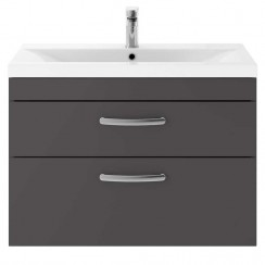 Athena Gloss Grey 800mm Wall Hung 2 Drawer Cabinet & Basin 3