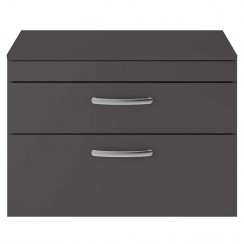 Athena Gloss Grey 800mm Wall Hung 2 Drawer Cabinet & Worktop