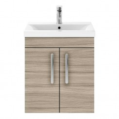 Athena Driftwood 500mm Wall Hung 2 Door Cabinet & Basin 2