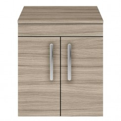 Athena Driftwood 500mm Wall Hung 2 Door Cabinet & Worktop