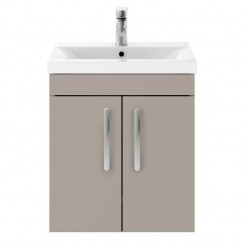 Athena Stone Grey 500mm Wall Hung 2 Door Cabinet & Basin 3