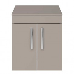 Athena Stone Grey 500mm Wall Hung 2 Door Cabinet & Worktop