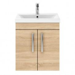 Athena Natural Oak 500mm Wall Hung 2 Door Cabinet & Basin 1