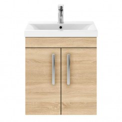 Athena Natural Oak 500mm Wall Hung 2 Door Cabinet & Basin 3