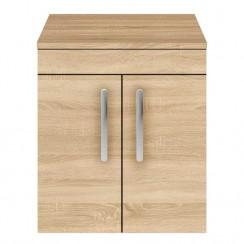Athena Natural Oak 500mm Wall Hung 2 Door Cabinet & Worktop