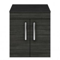 Athena Hacienda Black 500mm Wall Hung 2 Door Cabinet & Worktop
