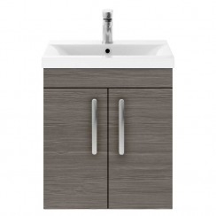 Athena Brown Grey Avola 500mm Wall Hung 2 Door Cabinet & Basin 3