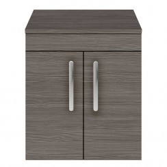 Athena Brown Grey Avola 500mm Wall Hung 2 Door Cabinet & Worktop
