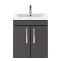 Athena Gloss Grey 500mm Wall Hung 2 Door Cabinet & Basin 3