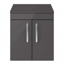 Athena Gloss Grey 500mm Wall Hung 2 Door Cabinet & Worktop