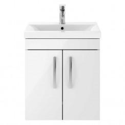 Athena Gloss White 500mm Wall Hung 2 Door Cabinet & Basin 1