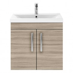 Athena Driftwood 600mm Wall Hung 2 Door Cabinet & Basin 2