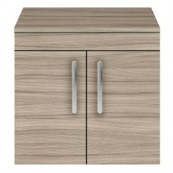 Athena Driftwood 600mm Wall Hung 2 Door Cabinet & Worktop