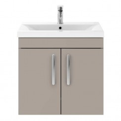 Athena Stone Grey 600mm Wall Hung 2 Door Cabinet & Basin 3