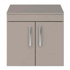 Athena Stone Grey 600mm Wall Hung 2 Door Cabinet & Worktop