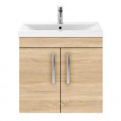 Athena Natural Oak 600mm Wall Hung 2 Door Cabinet & Basin 1