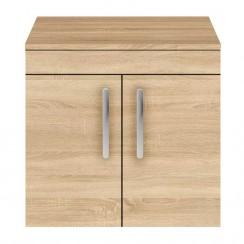 Athena Natural Oak 600mm Wall Hung 2 Door Cabinet & Worktop
