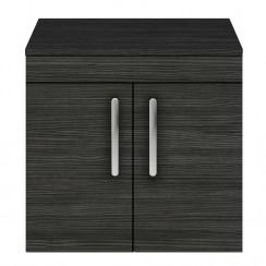 Athena Hacienda Black 600mm Wall Hung 2 Door Cabinet & Worktop